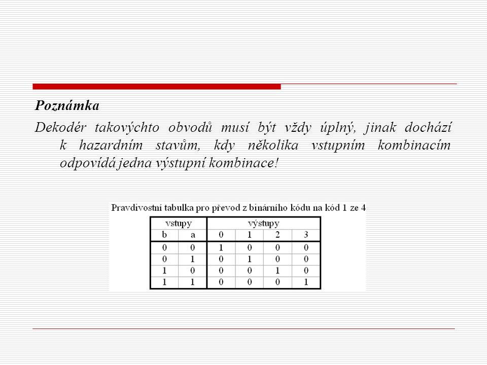 Poznámka Dekodér takovýchto obvodů musí být vždy úplný, jinak dochází k hazardním stavům, kdy několika vstupním kombinacím odpovídá jedna výstupní kombinace!