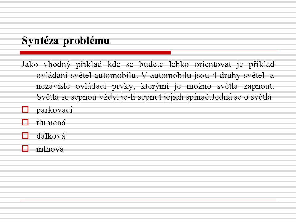 Syntéza problému Jako vhodný příklad kde se budete lehko orientovat je příklad ovládání světel automobilu. V automobilu jsou 4 druhy světel a nezávisl