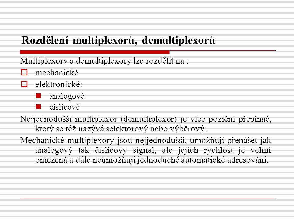 Rozdělení multiplexorů, demultiplexorů Multiplexory a demultiplexory lze rozdělit na :  mechanické  elektronické: analogové číslicové Nejjednodušší multiplexor (demultiplexor) je více poziční přepínač, který se též nazývá selektorový nebo výběrový.
