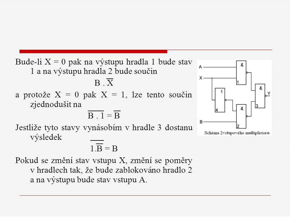 Bude-li X = 0 pak na výstupu hradla 1 bude stav 1 a na výstupu hradla 2 bude součin B. X a protože X = 0 pak X = 1, lze tento součin zjednodušit na B.