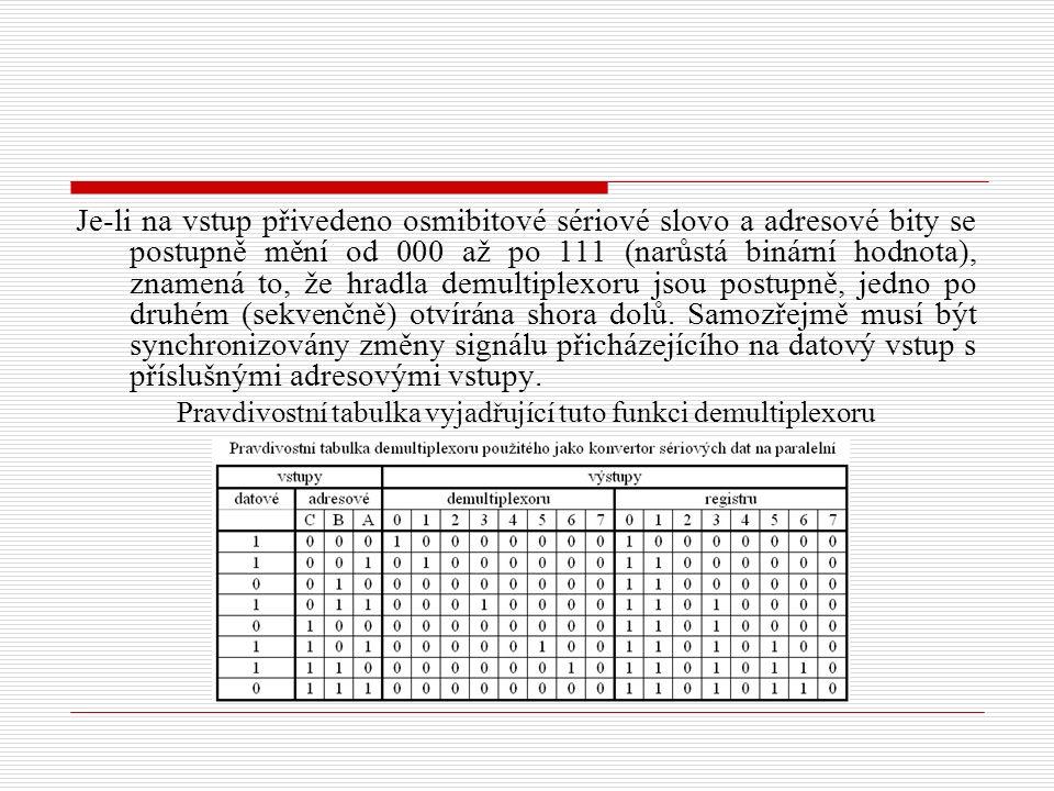 Je-li na vstup přivedeno osmibitové sériové slovo a adresové bity se postupně mění od 000 až po 111 (narůstá binární hodnota), znamená to, že hradla demultiplexoru jsou postupně, jedno po druhém (sekvenčně) otvírána shora dolů.