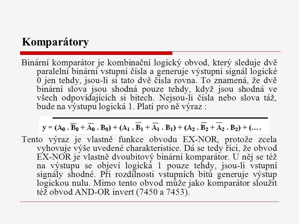 Binární komparátor je kombinační logický obvod, který sleduje dvě paralelní binární vstupní čísla a generuje výstupní signál logické 0 jen tehdy, jsou