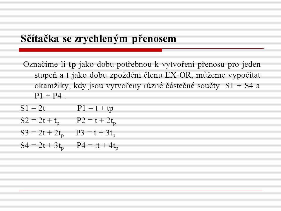 Sčítačka se zrychleným přenosem Označíme-li tp jako dobu potřebnou k vytvoření přenosu pro jeden stupeň a t jako dobu zpoždění členu EX-OR, můžeme vypočítat okamžiky, kdy jsou vytvořeny různé částečné součty S1 ÷ S4 a P1 ÷ P4 : S1 = 2t P1 = t + tp S2 = 2t + t p P2 = t + 2t p S3 = 2t + 2t p P3 = t + 3t p S4 = 2t + 3t p P4 = :t + 4t p