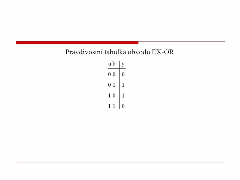 Pravdivostní tabulka obvodu EX-OR