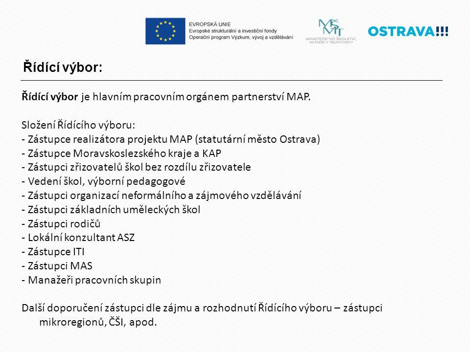 Řídící výbor: Řídící výbor je hlavním pracovním orgánem partnerství MAP.
