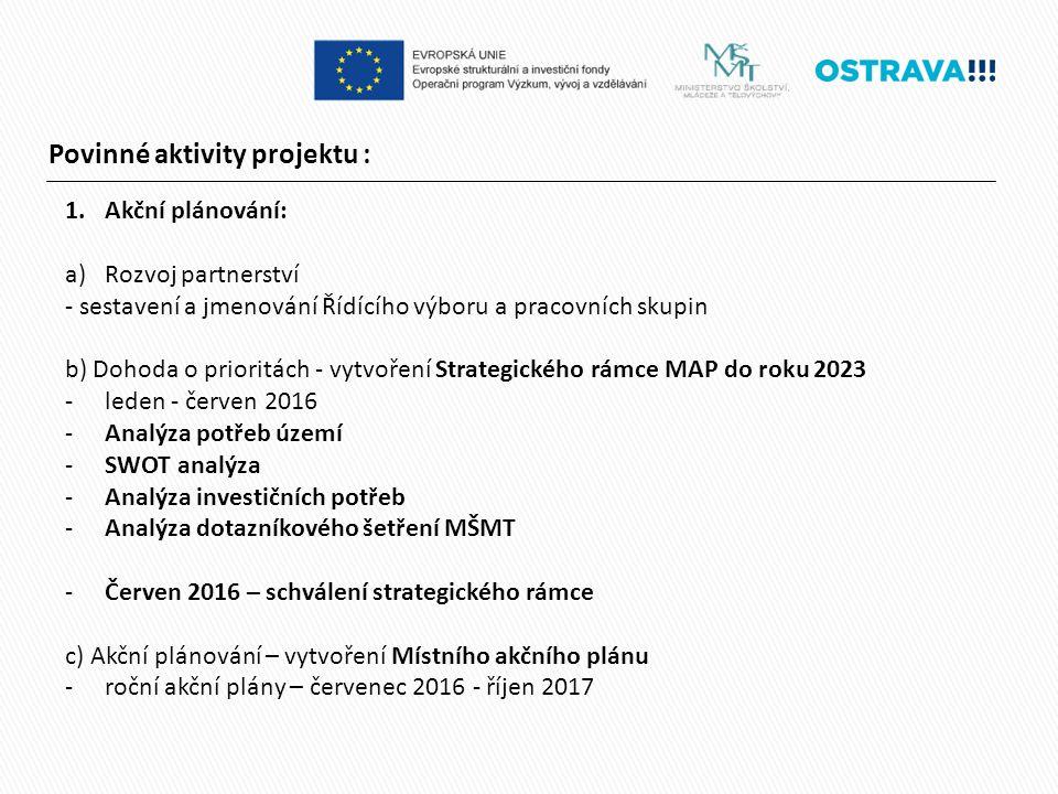 Povinné aktivity projektu : 1.Akční plánování: a)Rozvoj partnerství - sestavení a jmenování Řídícího výboru a pracovních skupin b) Dohoda o prioritách - vytvoření Strategického rámce MAP do roku 2023 -leden - červen 2016 -Analýza potřeb území -SWOT analýza -Analýza investičních potřeb -Analýza dotazníkového šetření MŠMT -Červen 2016 – schválení strategického rámce c) Akční plánování – vytvoření Místního akčního plánu -roční akční plány – červenec 2016 - říjen 2017