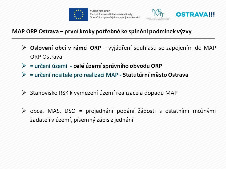 MAP ORP Ostrava – první kroky potřebné ke splnění podmínek výzvy