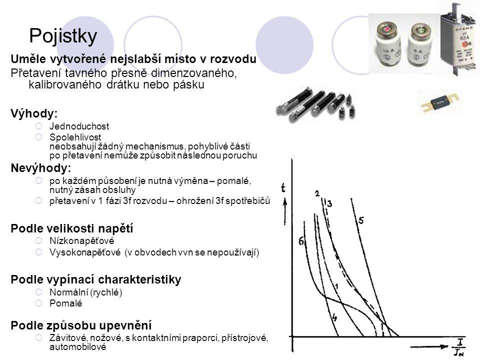 Pojistky (1)F- rychlá (2)T- pomalá (3)TF – rychlopomalá (4)velmi rychlá - jištění polovodičů (5)přístrojová (6)motorová - krátkodobé přetížení pro rozběh ASM
