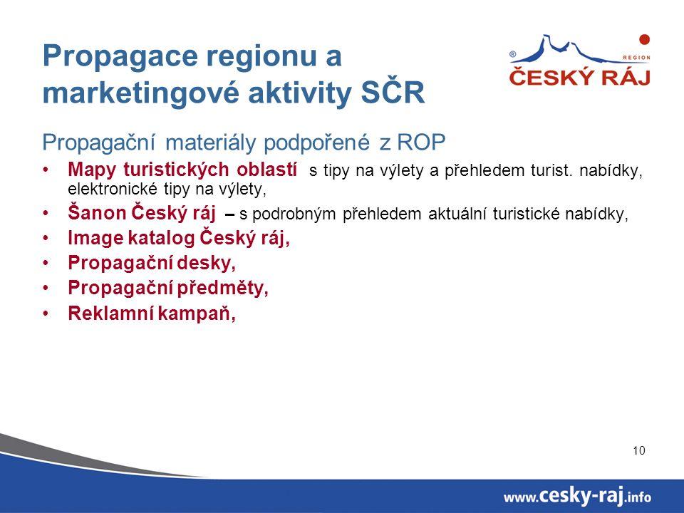 10 Propagace regionu a marketingové aktivity SČR Propagační materiály podpořené z ROP Mapy turistických oblastí s tipy na výlety a přehledem turist.