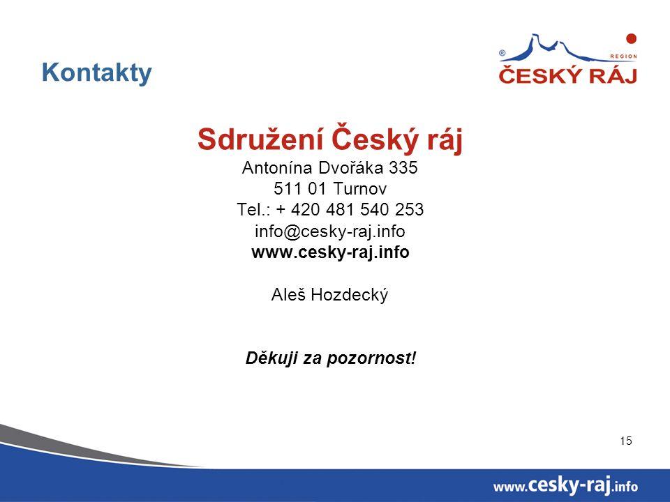 15 Kontakty Sdružení Český ráj Antonína Dvořáka 335 511 01 Turnov Tel.: + 420 481 540 253 info@cesky-raj.info www.cesky-raj.info Aleš Hozdecký Děkuji za pozornost!