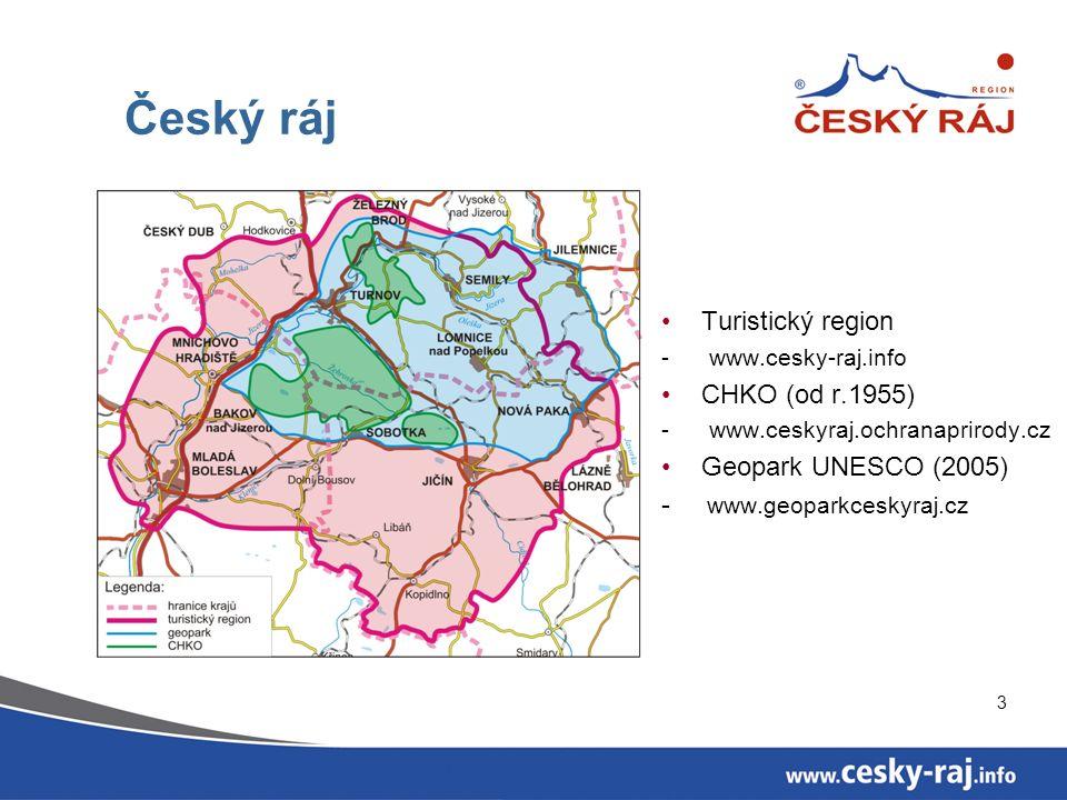3 Český ráj Turistický region - www.cesky-raj.info CHKO (od r.1955) - www.ceskyraj.ochranaprirody.cz Geopark UNESCO (2005) - www.geoparkceskyraj.cz