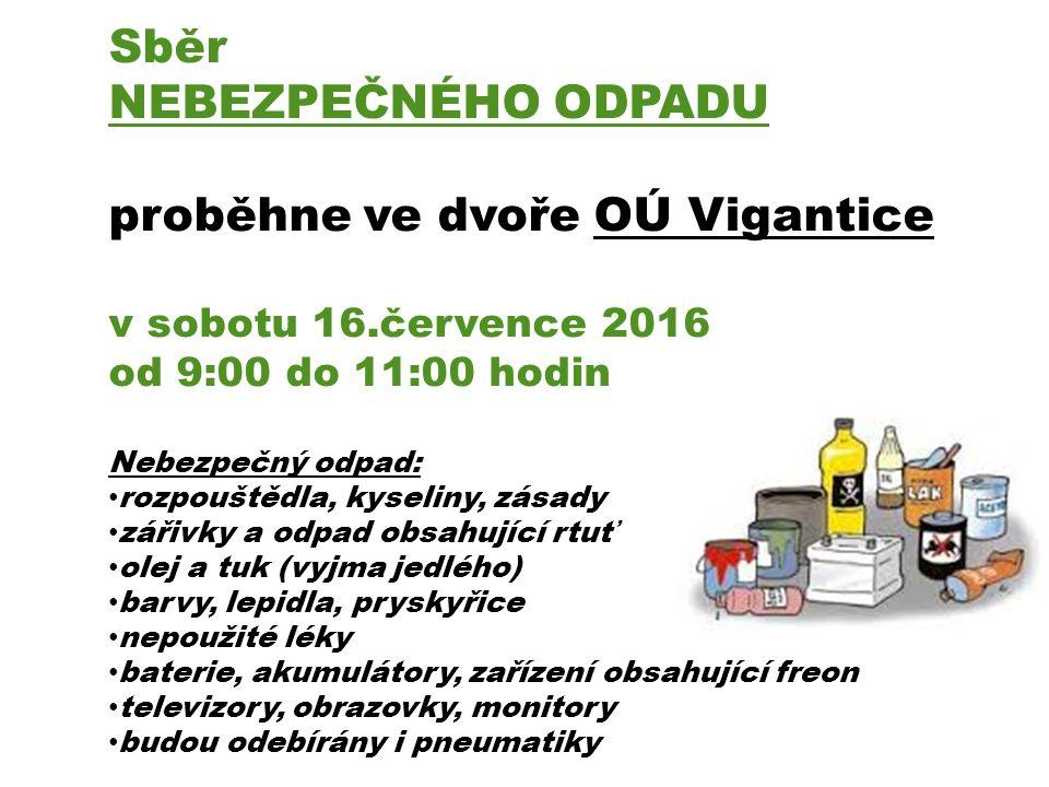 Sběr NEBEZPEČNÉHO ODPADU proběhne ve dvoře OÚ Vigantice v sobotu 16.července 2016 od 9:00 do 11:00 hodin Nebezpečný odpad: rozpouštědla, kyseliny, zásady zářivky a odpad obsahující rtuť olej a tuk (vyjma jedlého) barvy, lepidla, pryskyřice nepoužité léky baterie, akumulátory, zařízení obsahující freon televizory, obrazovky, monitory budou odebírány i pneumatiky