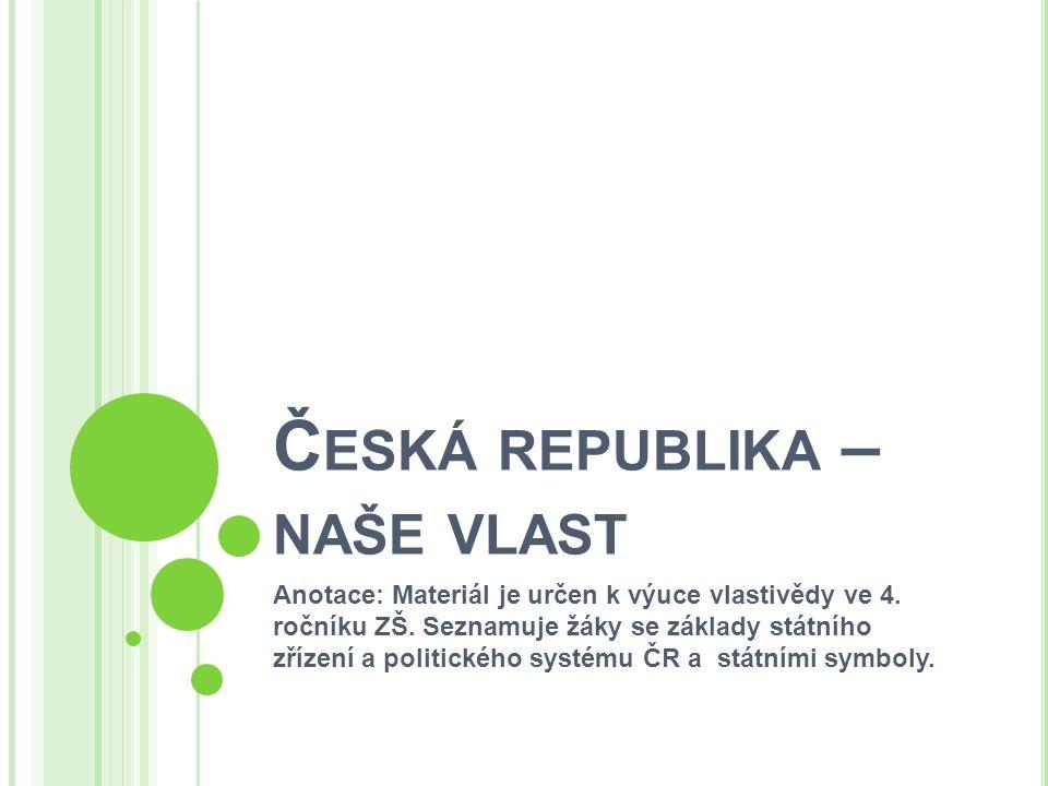 Č ESKÁ REPUBLIKA – NAŠE VLAST Anotace: Materiál je určen k výuce vlastivědy ve 4. ročníku ZŠ. Seznamuje žáky se základy státního zřízení a politického