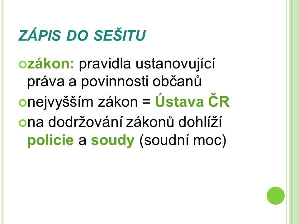 ZÁPIS DO SEŠITU zákon: pravidla ustanovující práva a povinnosti občanů nejvyšším zákon = Ústava ČR na dodržování zákonů dohlíží policie a soudy (soudn