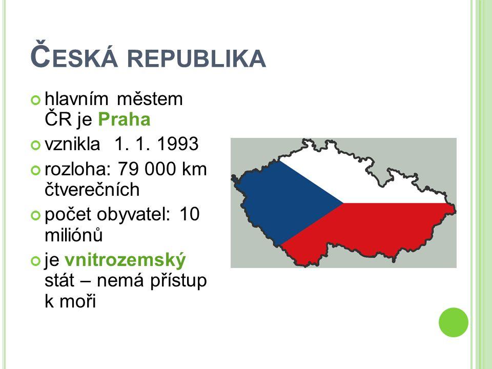 Č ESKÁ REPUBLIKA hlavním městem ČR je Praha vznikla 1. 1. 1993 rozloha: 79 000 km čtverečních počet obyvatel: 10 miliónů je vnitrozemský stát – nemá p