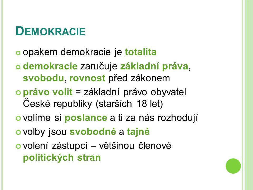 D EMOKRACIE opakem demokracie je totalita demokracie zaručuje základní práva, svobodu, rovnost před zákonem právo volit = základní právo obyvatel Česk