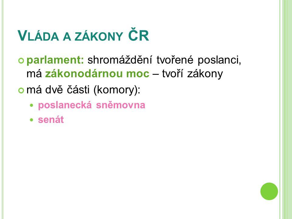 V LÁDA A ZÁKONY ČR parlament: shromáždění tvořené poslanci, má zákonodárnou moc – tvoří zákony má dvě části (komory): poslanecká sněmovna senát