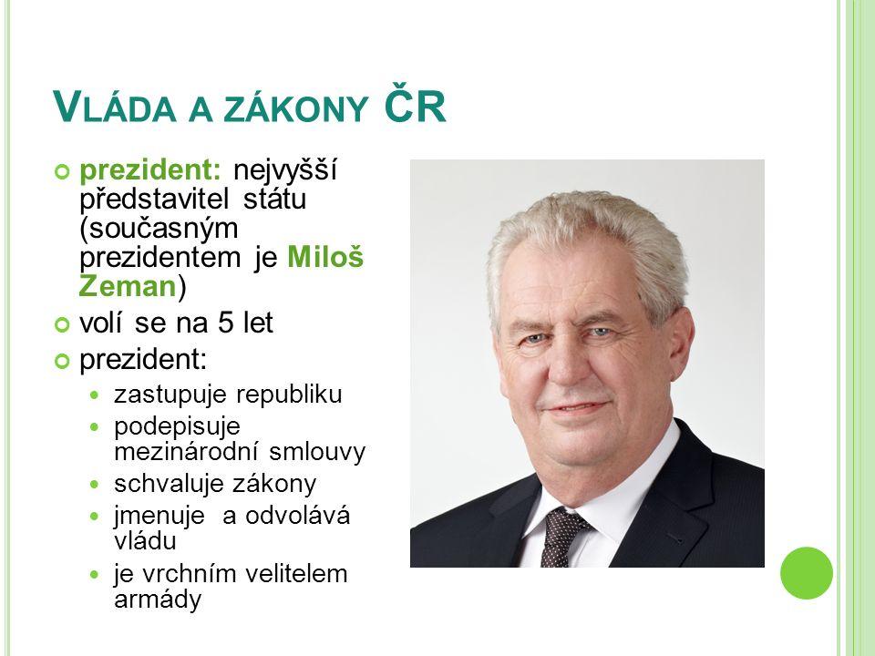 V LÁDA A ZÁKONY ČR prezident: nejvyšší představitel státu (současným prezidentem je Miloš Zeman) volí se na 5 let prezident: zastupuje republiku podep