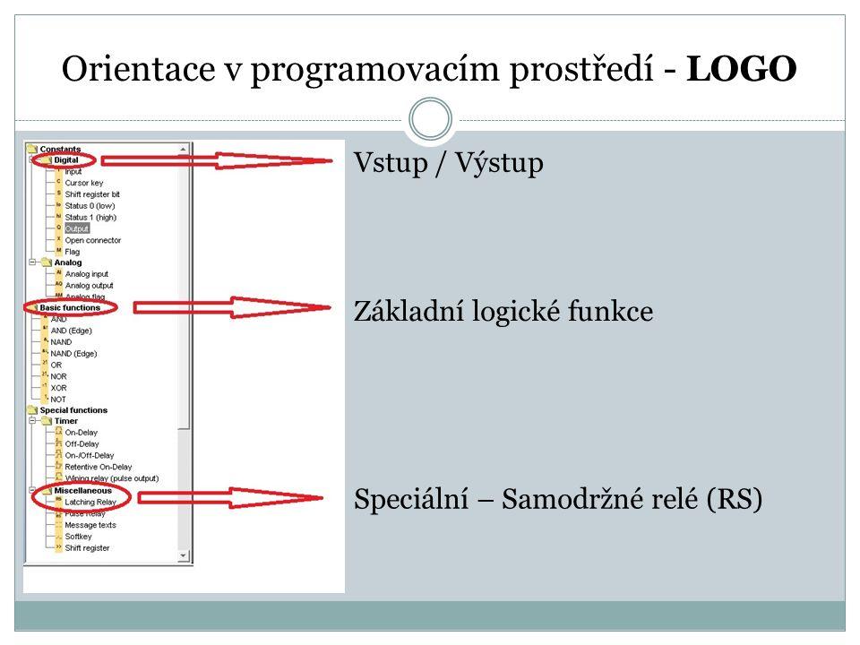 Orientace v programovacím prostředí - LOGO Vstup / Výstup Základní logické funkce Speciální – Samodržné relé (RS)