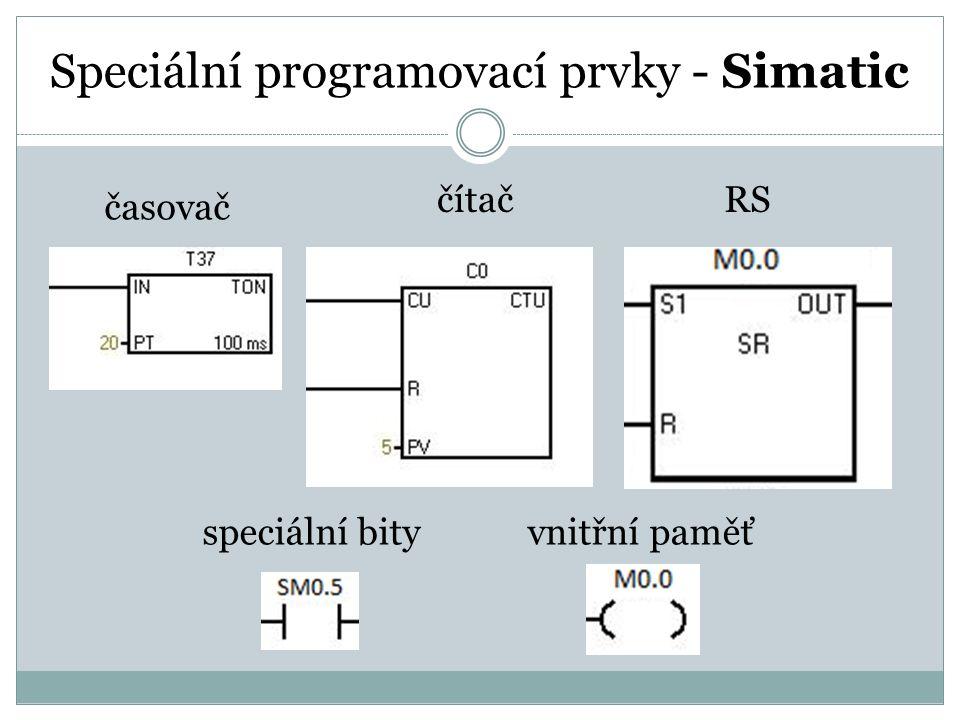 Speciální programovací prvky - Simatic časovač RSčítač vnitřní paměťspeciální bity