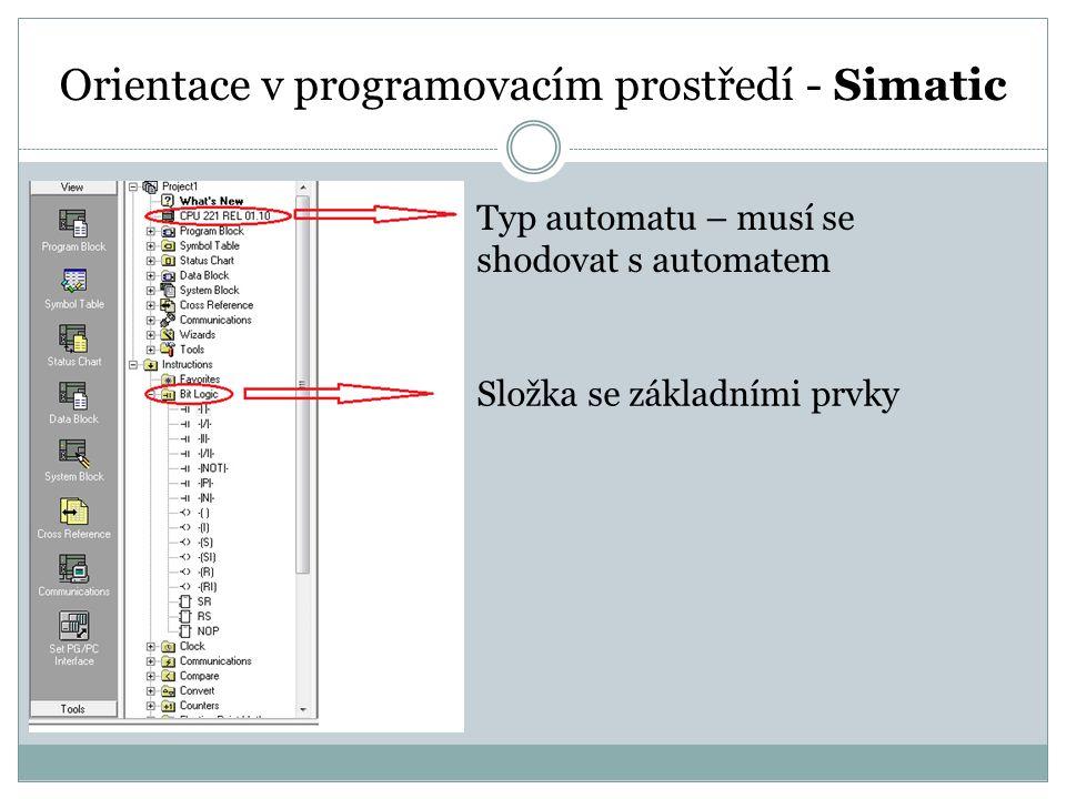 Orientace v programovacím prostředí - Simatic Typ automatu – musí se shodovat s automatem Složka se základními prvky