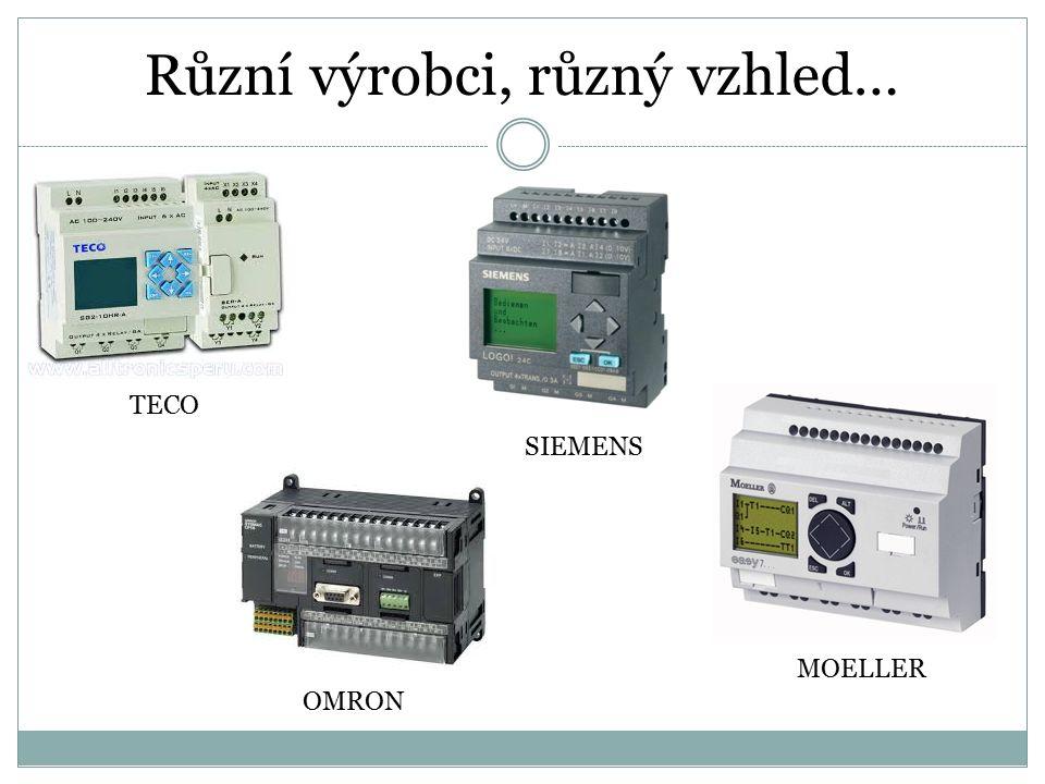 Vstupy a výstupy PLC tlačítkamagnetický senzorsvětelná závorakoncový kontakt stykač diodová signálka relé