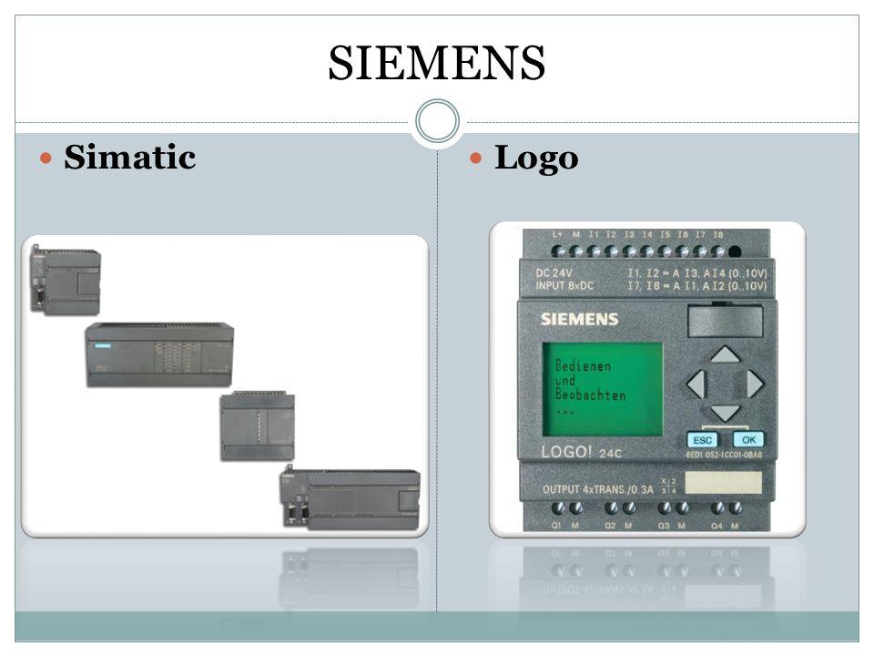 Rozdíly Simatic  nemá displej  průmyslověji zaměřený  programování v liniových schématech  vstupy:I0.0 – I0.7  výstupy:Q0.0 – Q0.7 (dále rozšiřovatelné)  vstupy jsou ze spodu a výstupy z vrchu Logo  má displej  jednodušší, do menších provozů  programování pomocí funkčních bloků  vstupy: I1 – I7  výstupy: Q1 – Q7 (dále rozšiřovatelné)  vstupy jsou z vrchu a výstupy ze spodu
