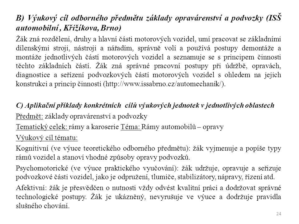 B) Výukový cíl odborného předmětu základy opravárenství a podvozky (ISŠ automobilní, Křižíkova, Brno) Žák zná rozdělení, druhy a hlavní části motorový