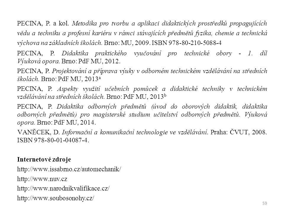 PECINA, P. a kol. Metodika pro tvorbu a aplikaci didaktických prostředků propagujících vědu a techniku a profesní kariéru v rámci stávajících předmětů