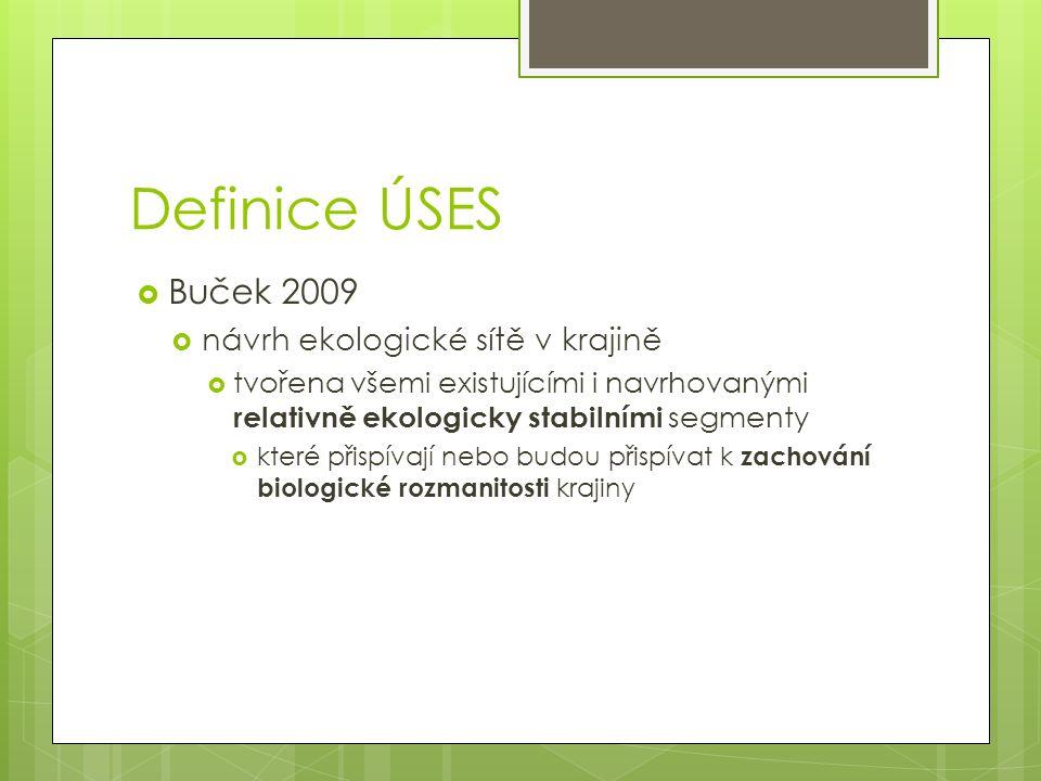 Definice ÚSES  Buček 2009  návrh ekologické sítě v krajině  tvořena všemi existujícími i navrhovanými relativně ekologicky stabilními segmenty  které přispívají nebo budou přispívat k zachování biologické rozmanitosti krajiny