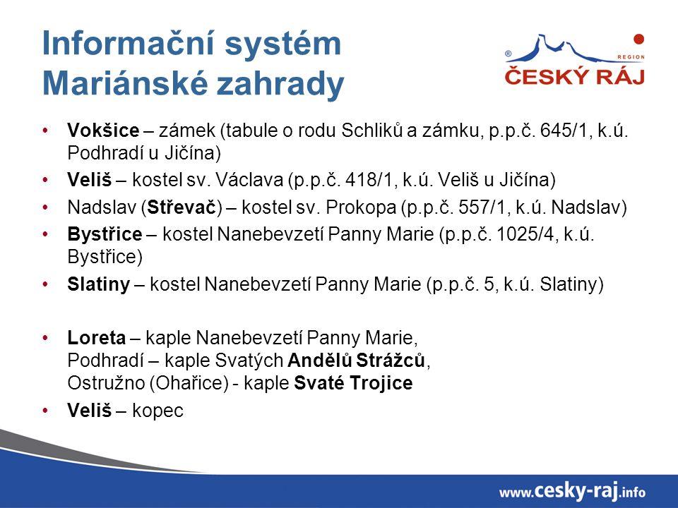 Informační systém Mariánské zahrady Vokšice – zámek (tabule o rodu Schliků a zámku, p.p.č.