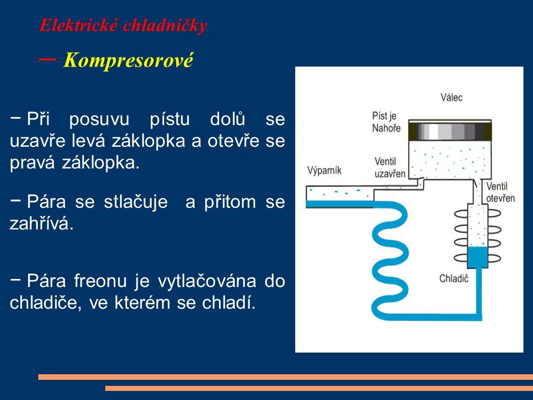 Elektrické chladničky – Kompresorové − Při posuvu pístu dolů se uzavře levá záklopka a otevře se pravá záklopka. − Pára se stlačuje a přitom se zahřív