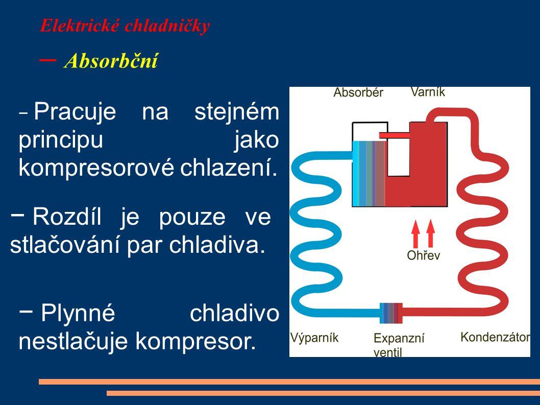 Elektrické chladničky – Absorbční − Pracuje na stejném principu jako kompresorové chlazení. − Rozdíl je pouze ve stlačování par chladiva. − Plynné chl