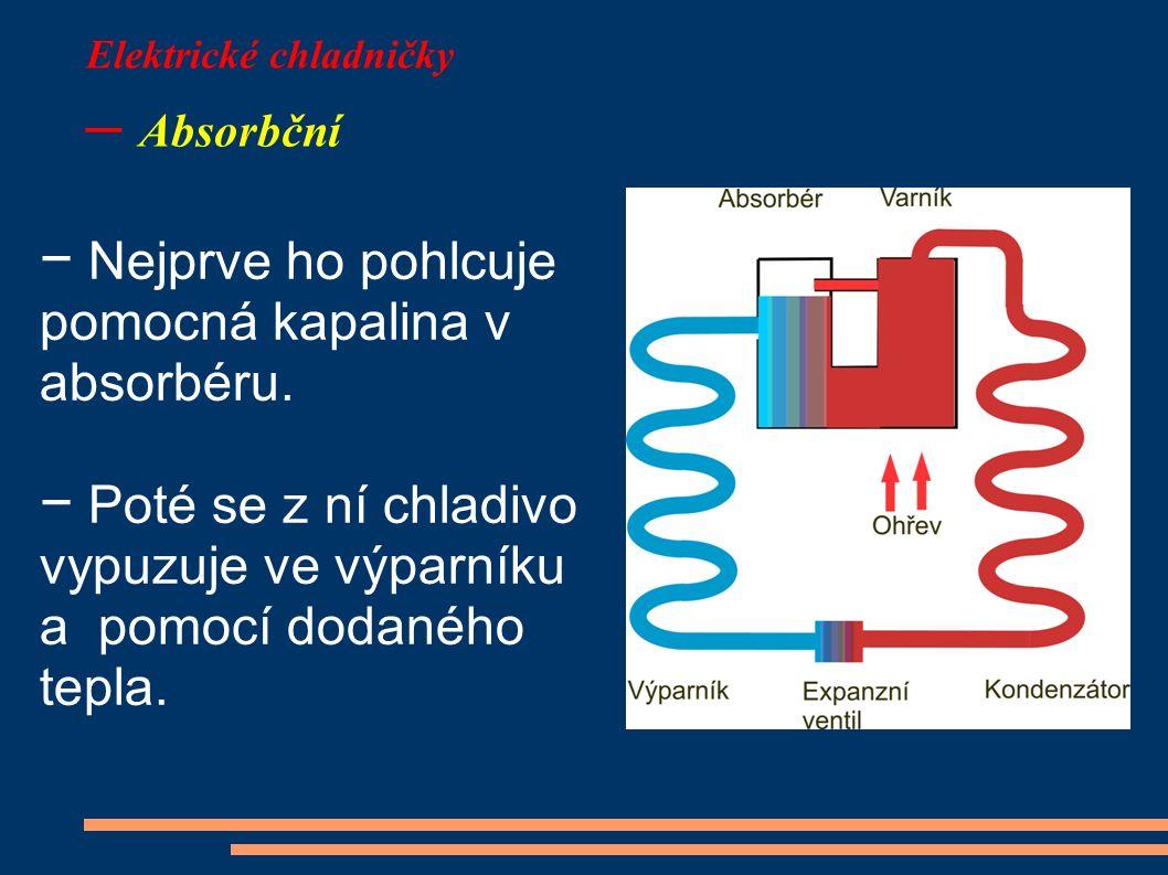 Elektrické chladničky – Absorbční − Nejprve ho pohlcuje pomocná kapalina v absorbéru. − Poté se z ní chladivo vypuzuje ve výparníku a pomocí dodaného