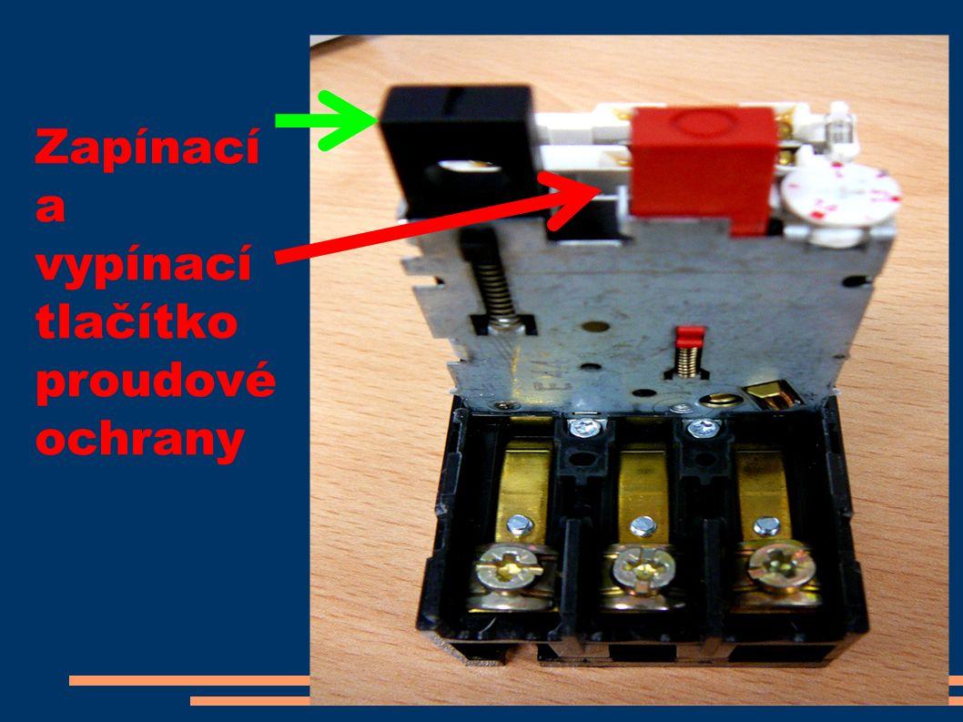 Zapínací a vypínací tlačítko proudové ochrany