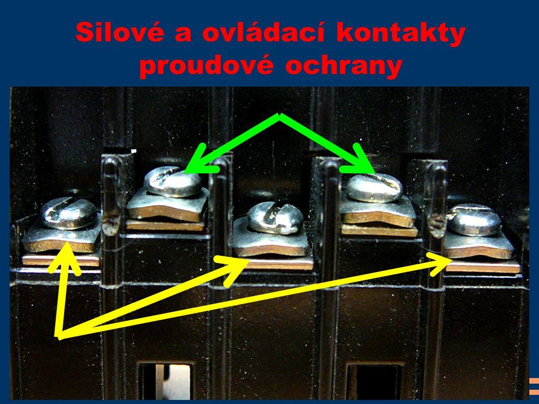 Silové a ovládací kontakty proudové ochrany
