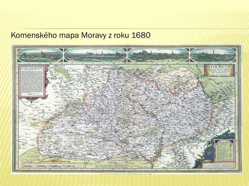 Komenského mapa Moravy z roku 1680