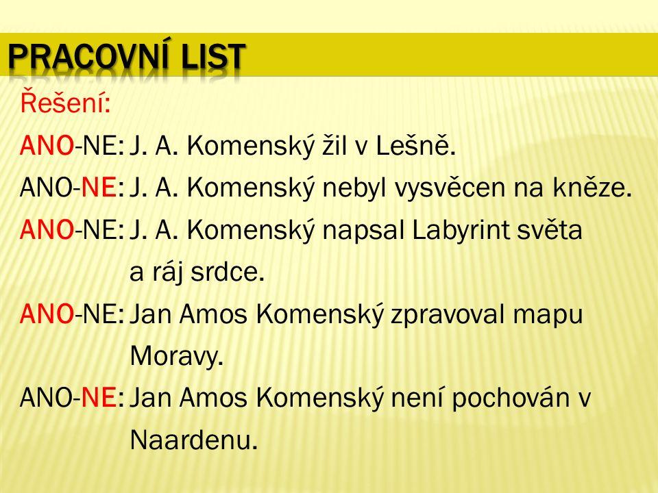 Řešení: ANO-NE: J. A. Komenský žil v Lešně. ANO-NE: J.