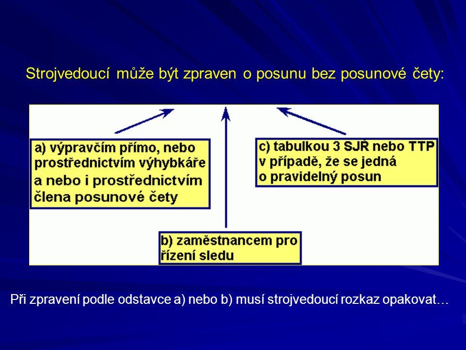 Strojvedoucí může být zpraven o posunu bez posunové čety: Při zpravení podle odstavce a) nebo b) musí strojvedoucí rozkaz opakovat…
