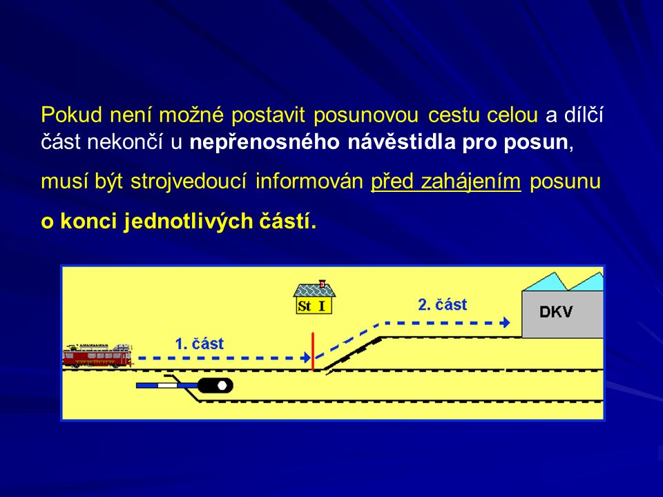 Pokud není možné postavit posunovou cestu celou a dílčí část nekončí u nepřenosného návěstidla pro posun, musí být strojvedoucí informován před zaháje