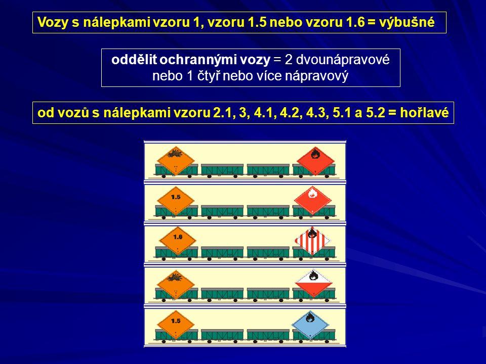 Vozy s nálepkami vzoru 1, vzoru 1.5 nebo vzoru 1.6 = výbušné oddělit ochrannými vozy = 2 dvounápravové nebo 1 čtyř nebo více nápravový od vozů s nálep