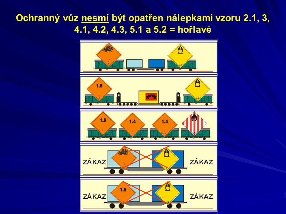 Ochranný vůz nesmí být opatřen nálepkami vzoru 2.1, 3, 4.1, 4.2, 4.3, 5.1 a 5.2 = hořlavé