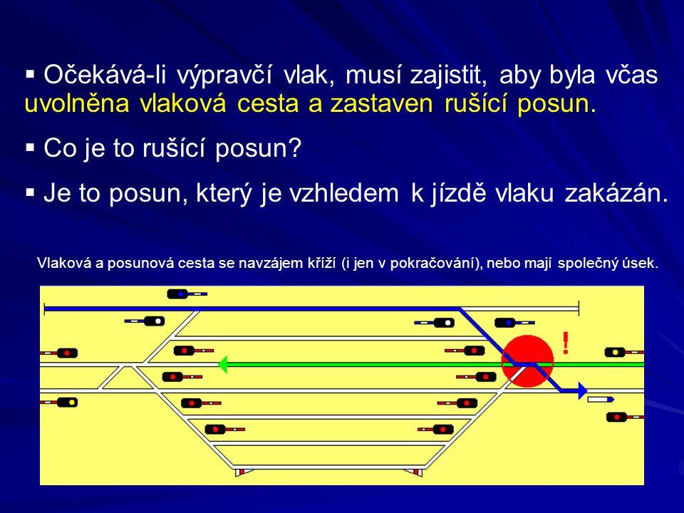  Očekává-li výpravčí vlak, musí zajistit, aby byla včas uvolněna vlaková cesta a zastaven rušící posun.  Co je to rušící posun?  Je to posun, který