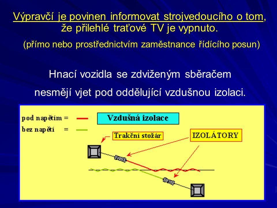 Výpravčí je povinen informovat strojvedoucího o tom, že přilehlé traťové TV je vypnuto. (přímo nebo prostřednictvím zaměstnance řídícího posun) Hnací