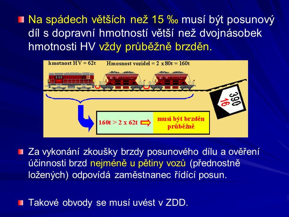 Na spádech větších než 15 ‰ musí být posunový díl s dopravní hmotností větší než dvojnásobek hmotnosti HV vždy průběžně brzděn. Za vykonání zkoušky br