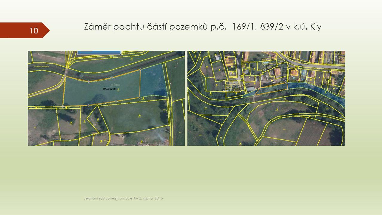 Záměr pachtu částí pozemků p.č. 169/1, 839/2 v k.ú.