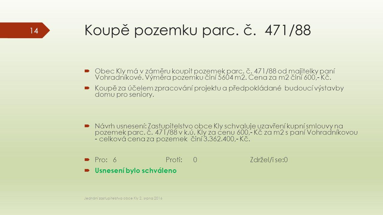 Koupě pozemku parc. č. 471/88  Obec Kly má v záměru koupit pozemek parc.