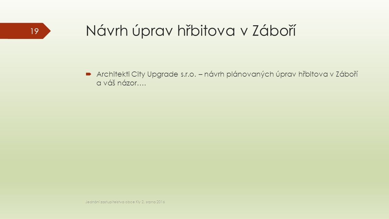 Návrh úprav hřbitova v Záboří  Architekti City Upgrade s.r.o.