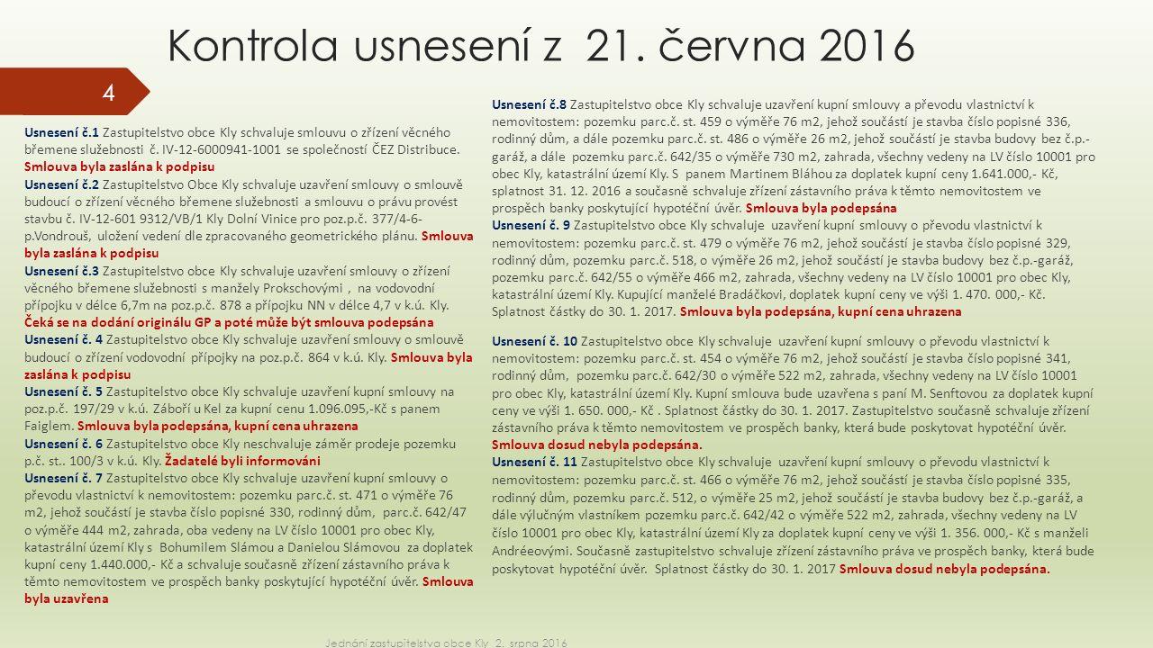 Kontrola usnesení z 21.června 2016 Usnesení č.