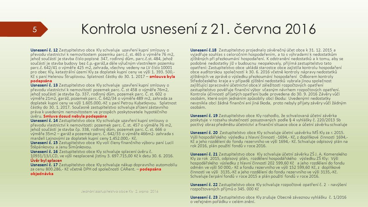 Kontrola usnesení z 21. června 2016 Usnesení č.